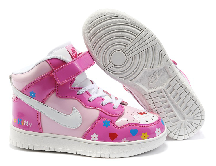 ... toddler Nike shoes; Nike Hello Kitty Dunks Pink Flower Shoes For Kids |  Comic Nike Dunks / Comic Nikes ...