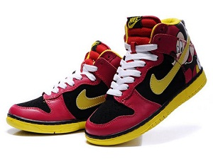 """info for d5dbd 58824 Share one pair """"Mickey Mouse """" Nike SB Dunk High Tops Red Yellow ..."""